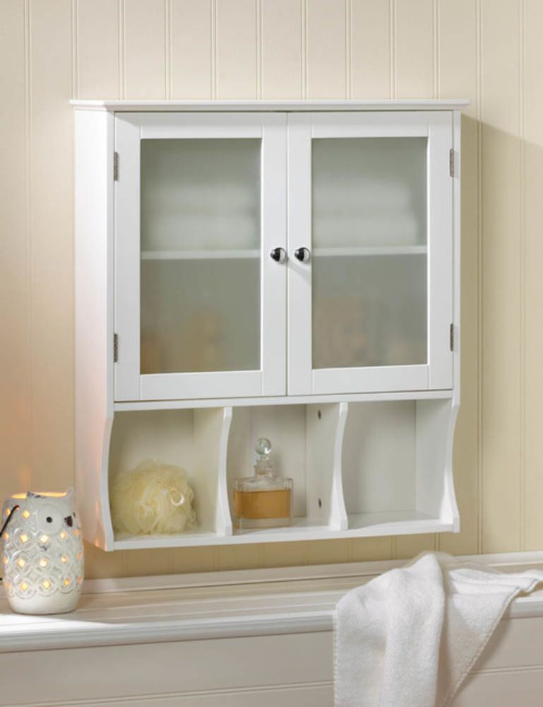 Compact Bathroom Kitchen Wall Cabinet White 2 Frosted Gl Doors 3 Shelves New Unbranded