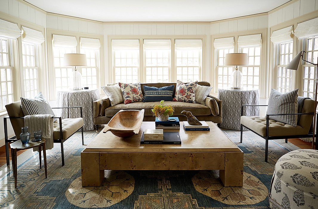 The shade store shades in one kings lane president debbie propsts family room inside a · skirted tableliving spacesliving