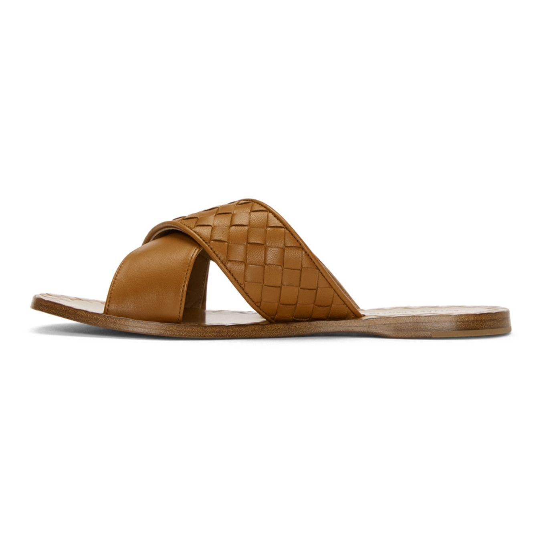 Bottega VenetaTan Intrecciato Criss Cross Sandals osKVxPlf
