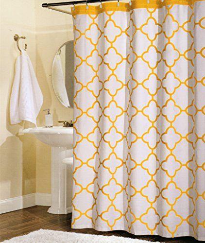 100 Percent Cotton Shower Curtain Moroccan Tile Quatrefoil White Yellow Lattice 72 Inch By 72 Inch Shower Cu Cotton Shower Curtain Moroccan Tile Shower Curtain
