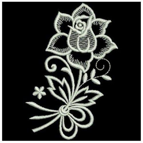 White Work Rose Stem Embroidery Design   Machine embroidery, Embroidery designs, Machine ...