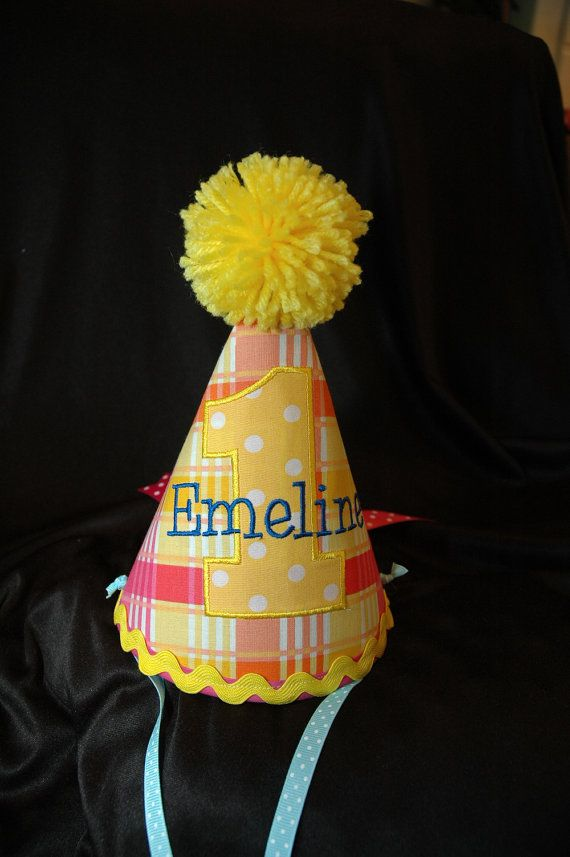 Birthday Part Hat- First Birthday Party Hat Sweet Summer Sunshine - Can be  plain or embroidered with a name.