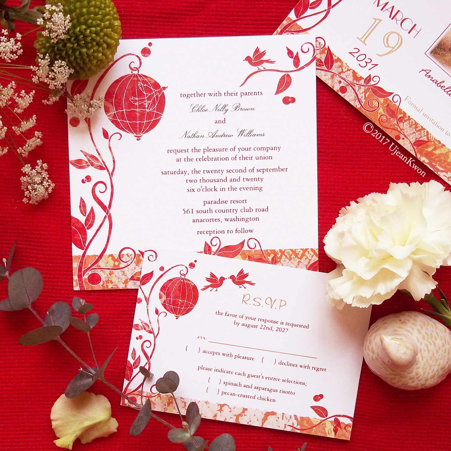 Luxury Wedding Invitation Birds Composition - Invitations and ...