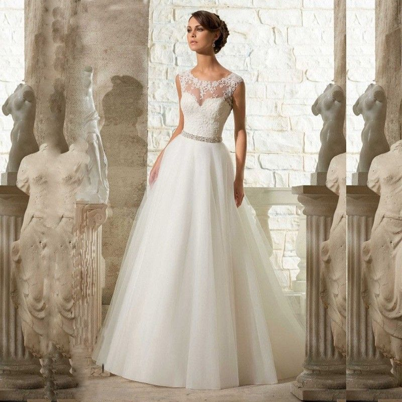 Long Cheap A Line Lace Beach Wedding Dress 2017 White Tulle Beading ...