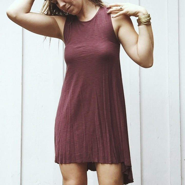 """""""Maisie"""" Tunic Hi-Low Tank Dress, Plum from Carly Jean for $42.00"""