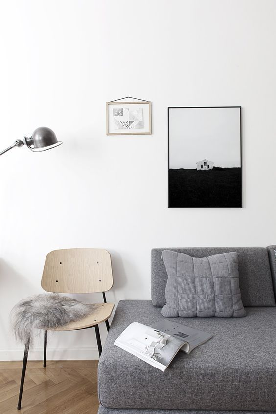 Gorgeous living room ready for winter. Grey sheepskin and grey sofa. Styling by Coco Lapine. Danish designer chair Søborg Chair by Børge Mogensen / Frederici.: