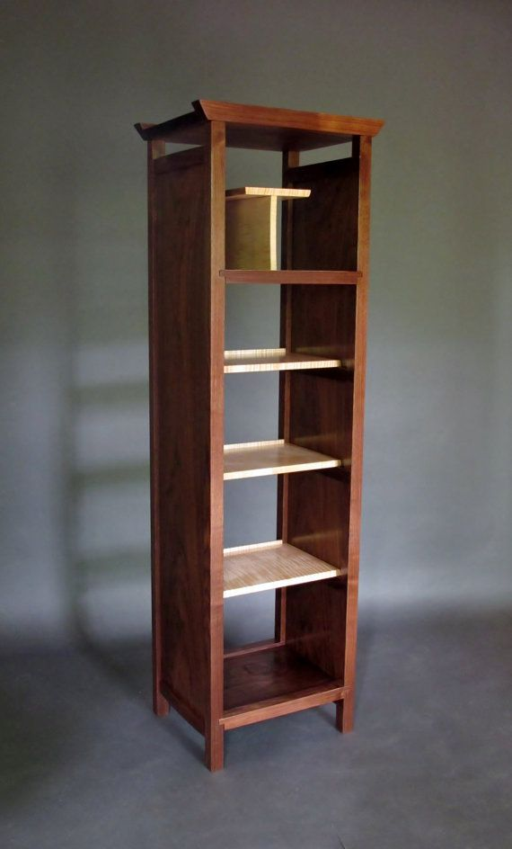 narrow bookcase tall display cabinet media tower bookshelves room divider wood