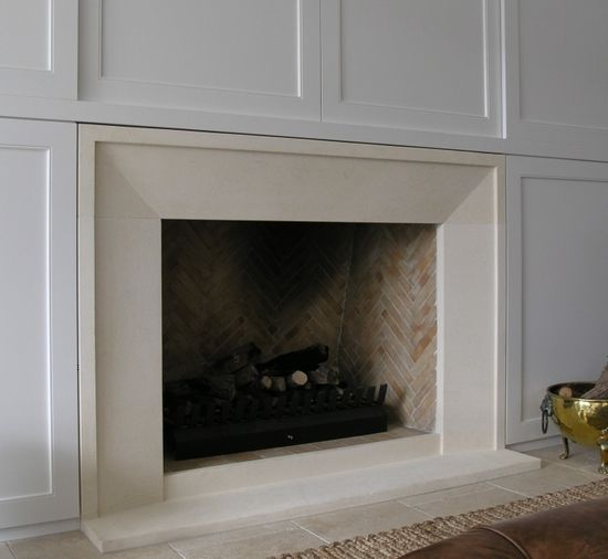 Bevel fireplace with small border style fire surround ...