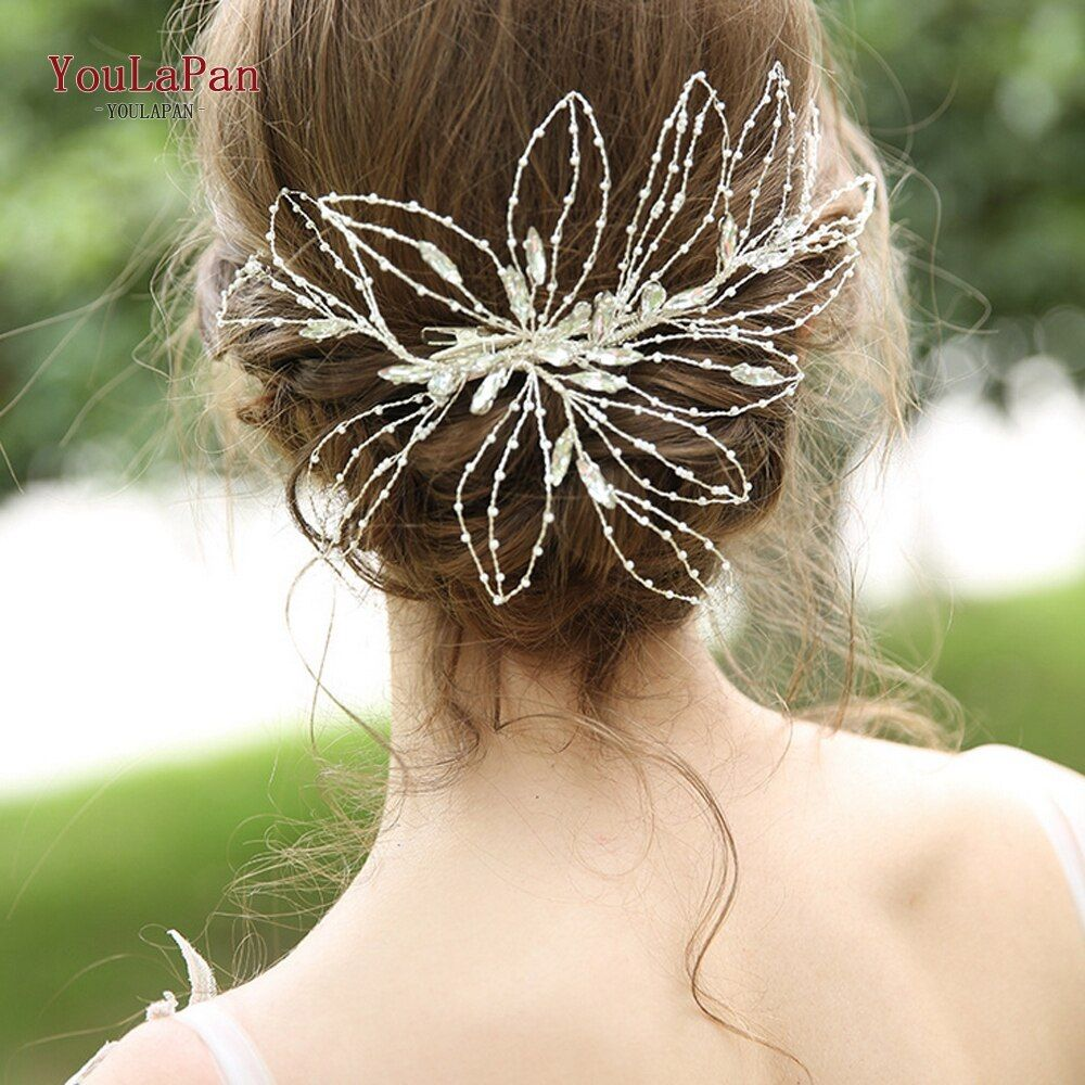 YouLaPan Wedding Hair Band Tiara and Crowns Wedding Big Pageant Crowns Bridal Head Piece for Brides