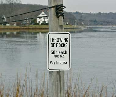 What's funnier? That they charge for throwing rocks? Or that they trust you to 'fess up?