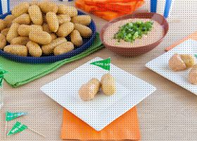 Queso Fondue with Corn Dog Dippers