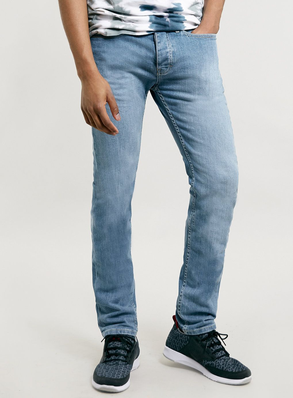 LIGHT POWDER BLUE STRETCH SKINNY JEANS - Men's Jeans - Clothing