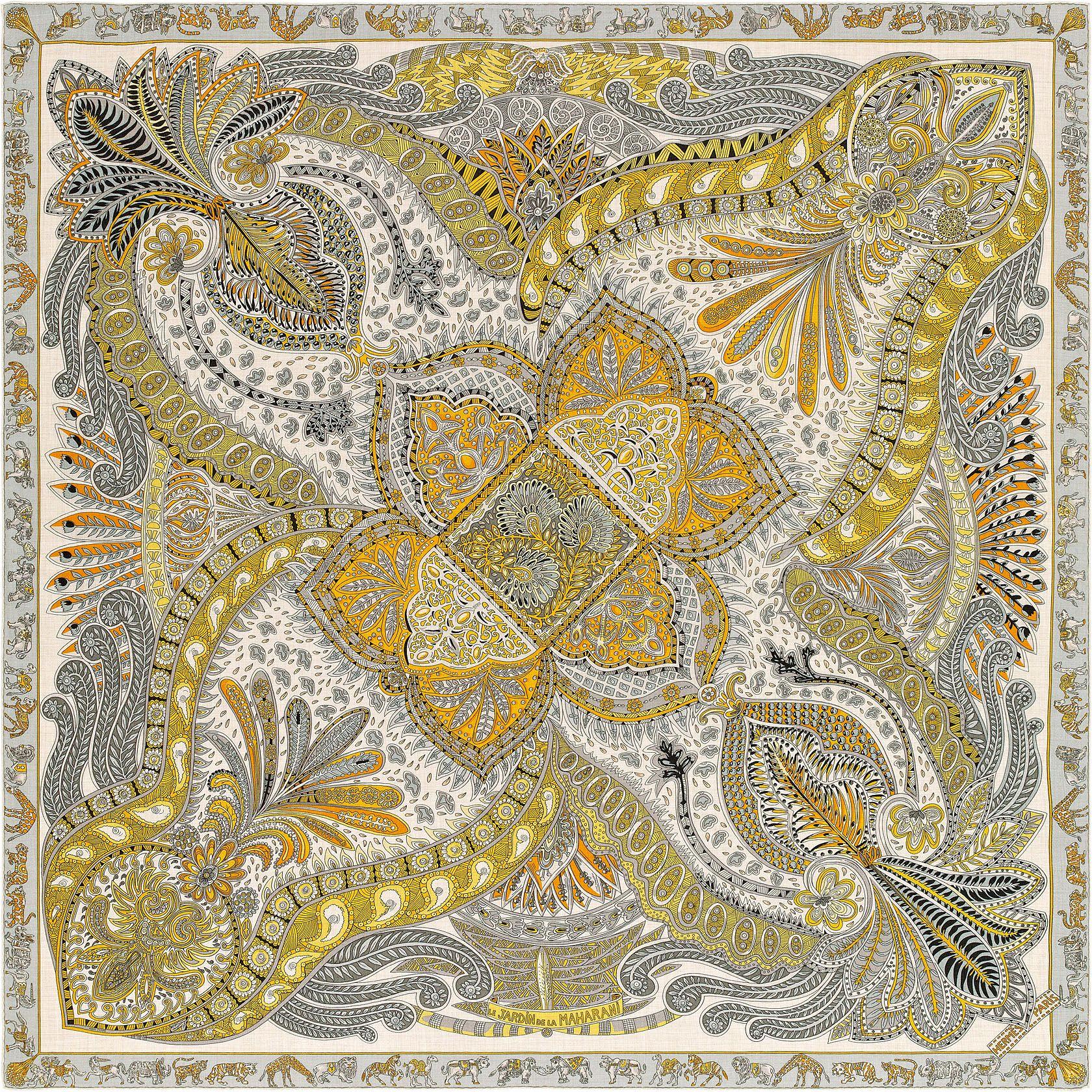 Le Jardin de la Maharani   Réf.   H243070S 16 natural yellow grey   €925    Châle 70 % cachemire 30 % soie (140 x 140 cm) 99cf1d62c8f