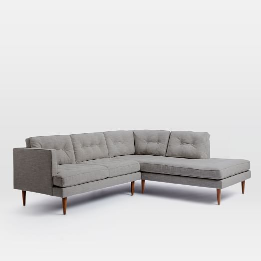 Peggy Mid Century Terminal Chaise Sectional Feather Gray
