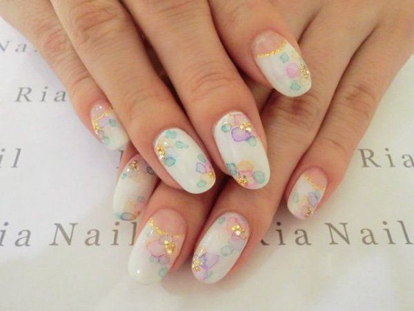 Start your day with this fresh and white nail art design. Watercolor flower  petals have been painted as washed out to give the clean and soothing  effect ... - 65 Japanese Nail Art Designs Nail Art Pinterest Nail Art