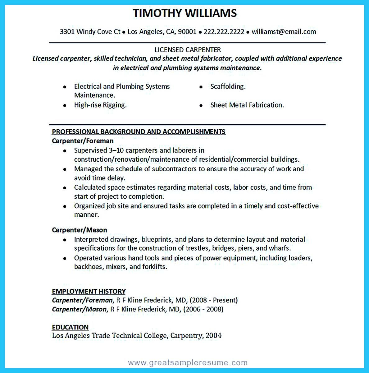 Carpenter Resume Samples Australia Template Construction Sample