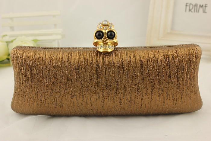 2014 new female evening bag skull ring hand bag luxury set auger golden handbag scale bag chain