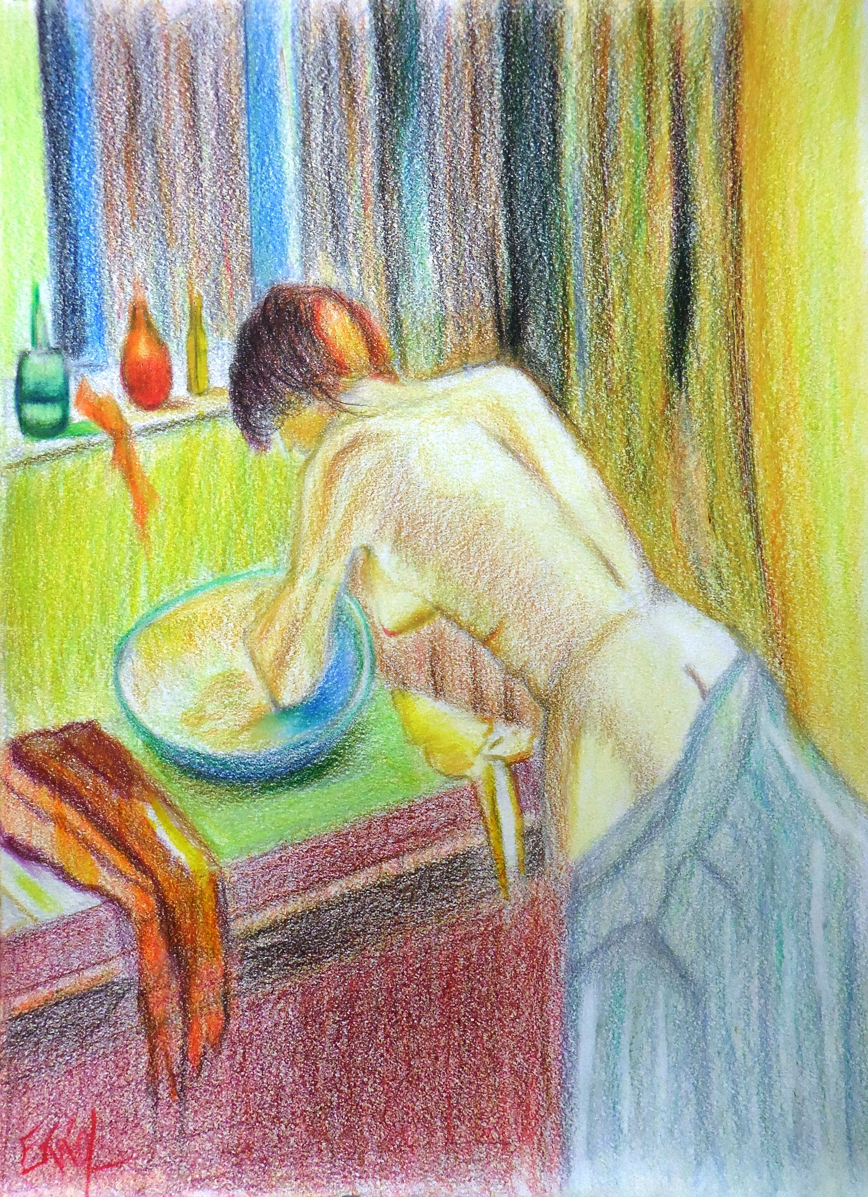 Woman Washing her Face. Faber Castell Polychromos Coloured Pencils on Heavy Duty Drawing Paper. 9 x 12