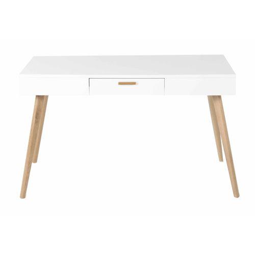 bureau en bois blanc mat 1 tiroir flam - Bureau Blanc Et Bois