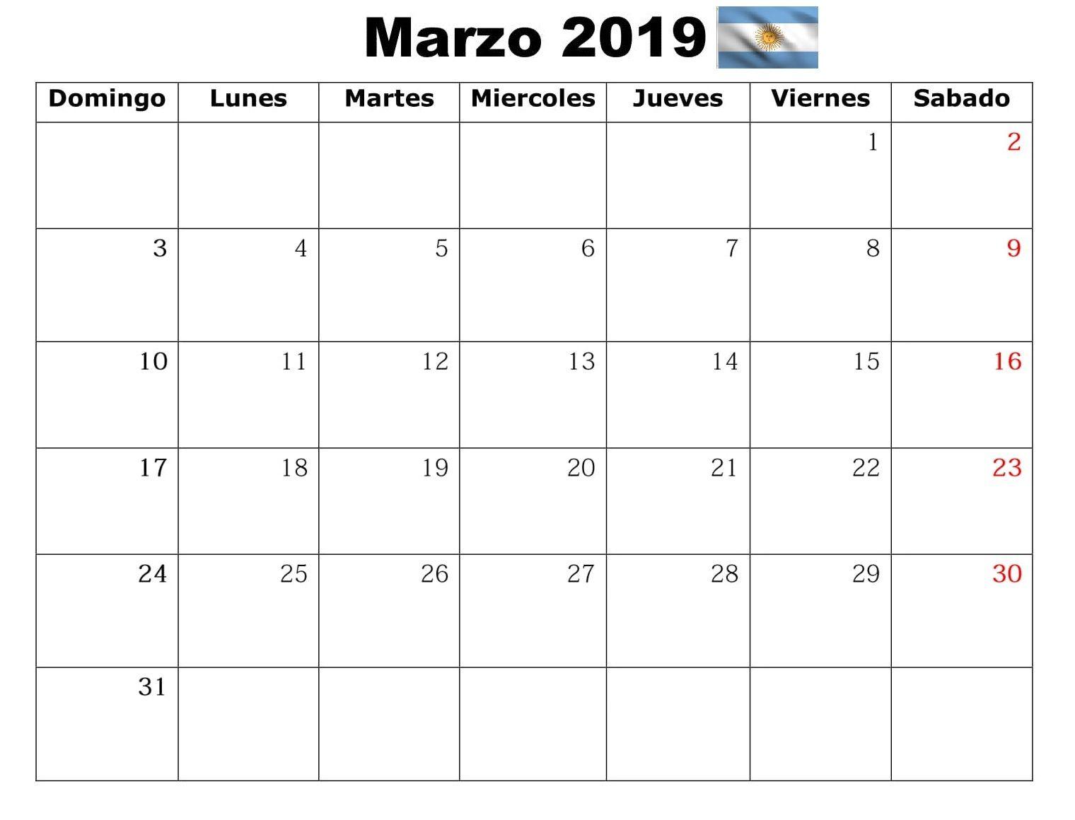 Calendario 2019 Para Imprimir Argentina.Calendario De Marzo 2019