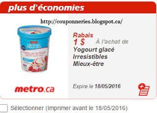 Coupons et Circulaires: 1,00$ de rabais à l'achat de Yogourt glacé IRRESIS...