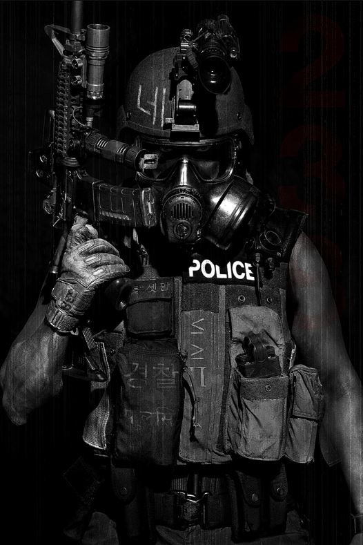Riot, future soldier, cyberpunk, future police, mask, armor, gun, futuristic, weapon, dark, industrial, black clothing, military