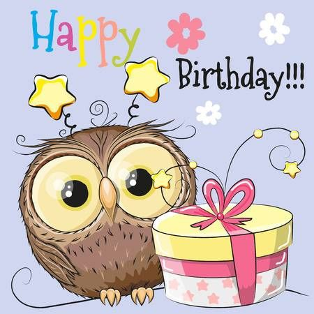 Greeting Card Cute Owl With Gift On A Blue Background Happy Birthday Owl Happy Birthday Kids Happy Birthday Greetings