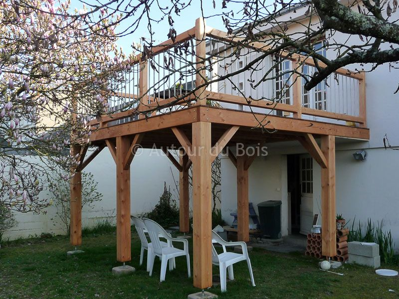 terrasse bois suspendue sur pilotis et balcons bois angers artisan construction menuisier. Black Bedroom Furniture Sets. Home Design Ideas