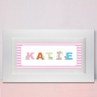 Personalised name frame for girls animal alphabet new baby personalised name frame for girls animal alphabet negle Images