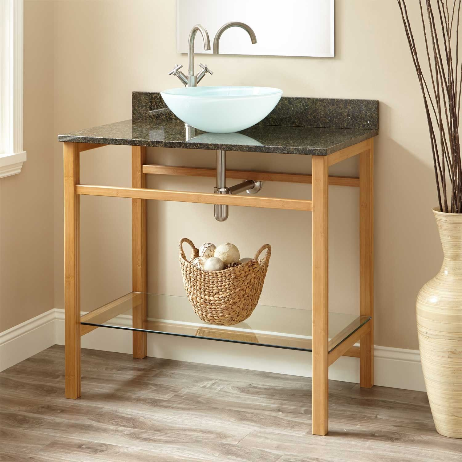 """36"""" Story Bamboo Console Vessel Sink Vanity"""