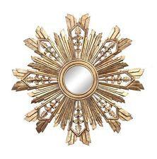 Large NEW Sunburst Starburst Antique Gold Round wooden ...
