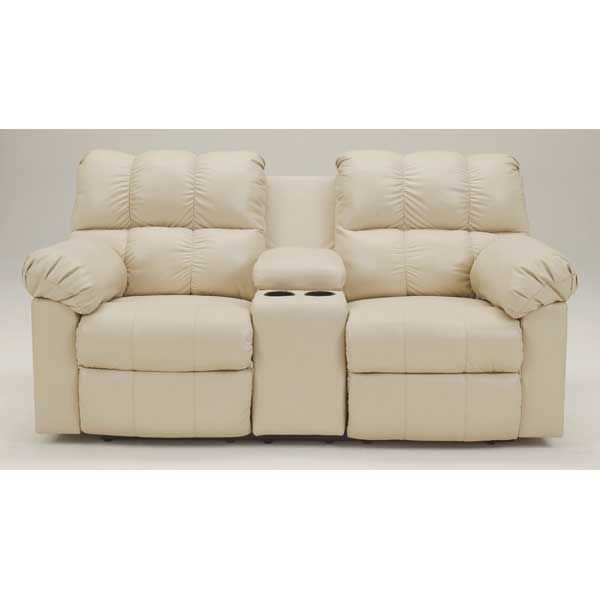 Chamois Power Reclining Console Loveseat Leather
