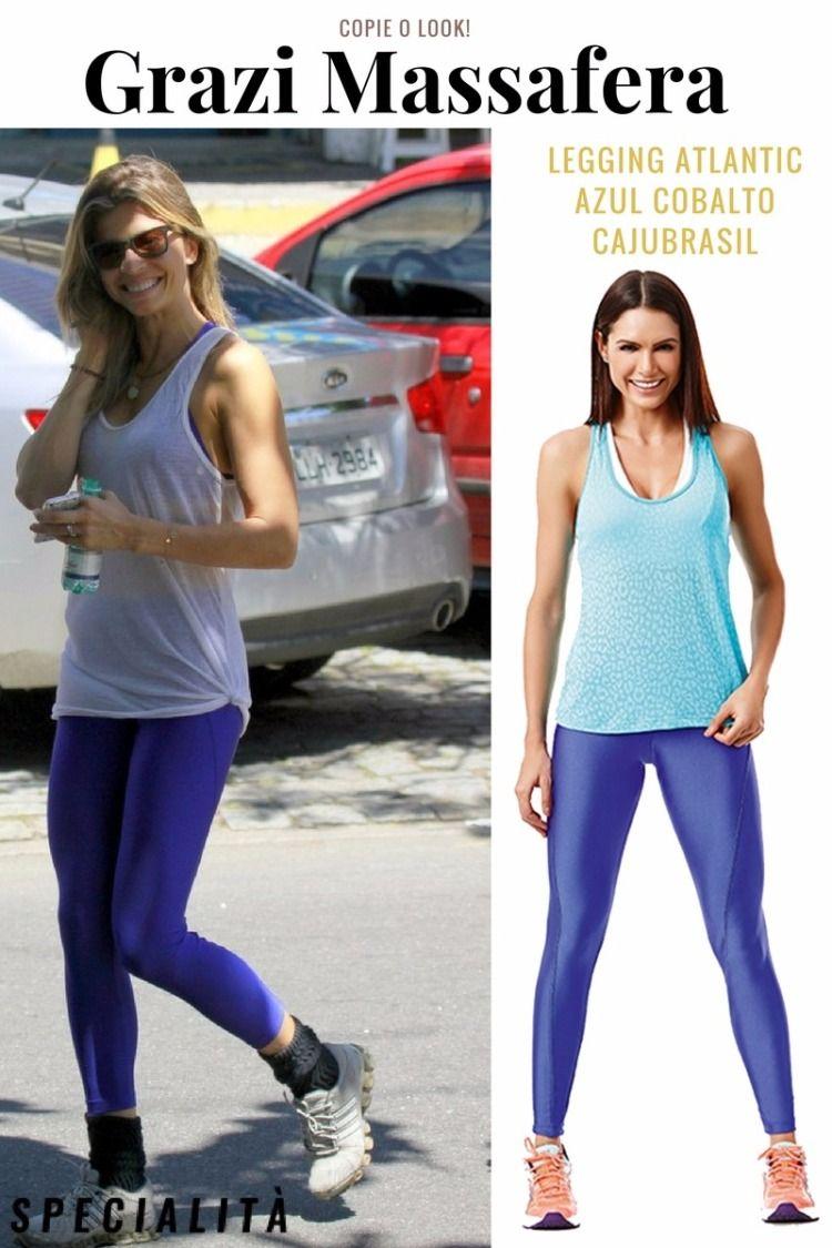 48cd643061 Look Fitness Grazi Massafera - legging azul - legging colorida- roupa de  academia - legging