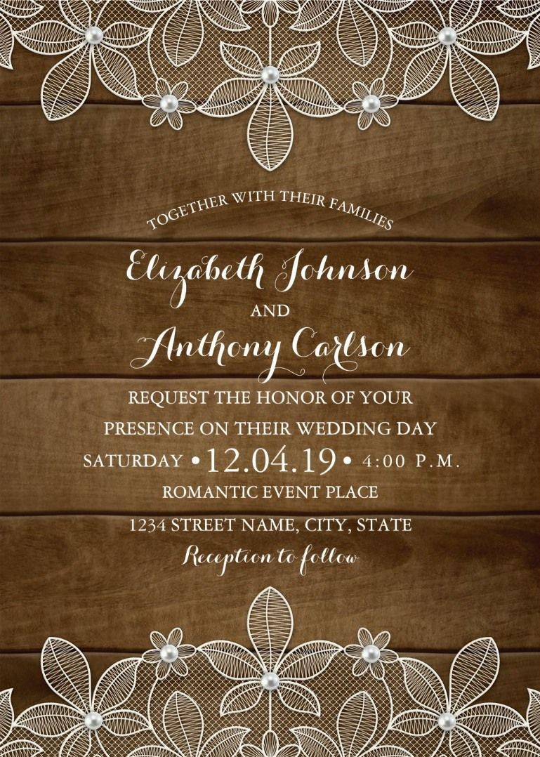Country Wood Lace Wedding Invitations Elegant Rustic Luxury Cards