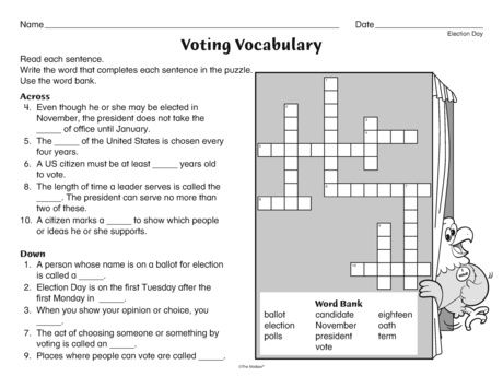 Let this crossword puzzle help you expand your students' voting ...