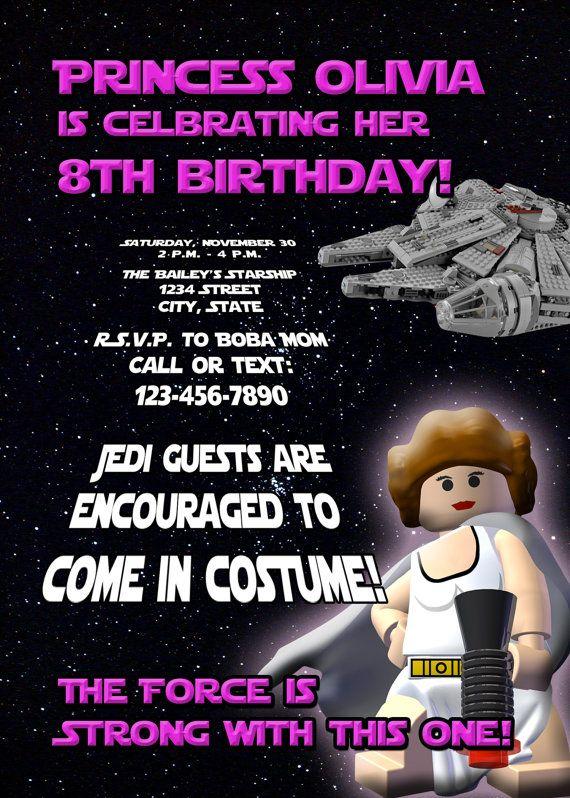 GIrls Lego Star Wars Princess Leia Birthday Invitation For The