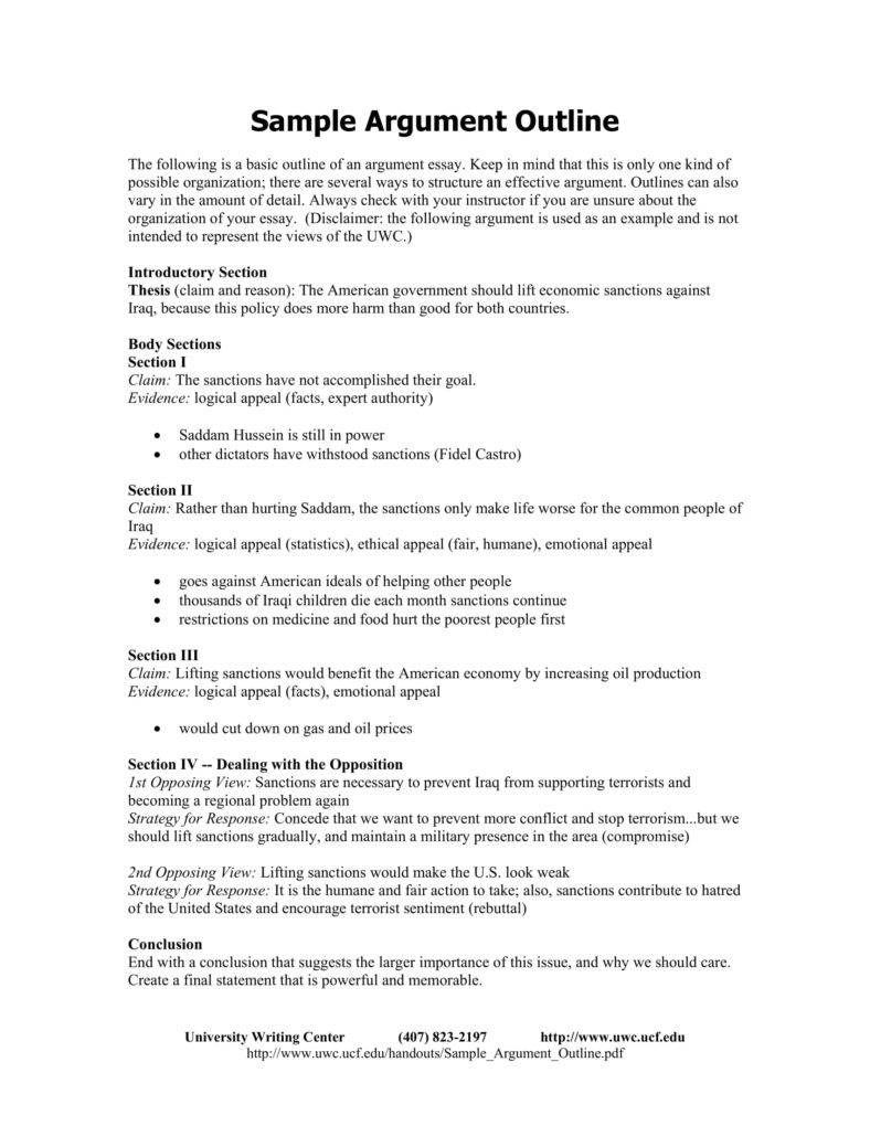 9 argumentative essay outline templates pdf free