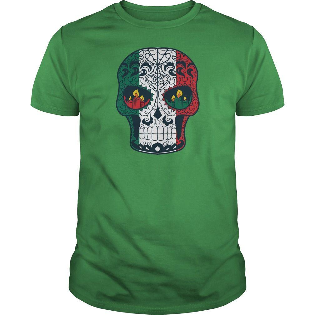 Mexican Flag Colors Tattoo Sugar Skull Tshirt