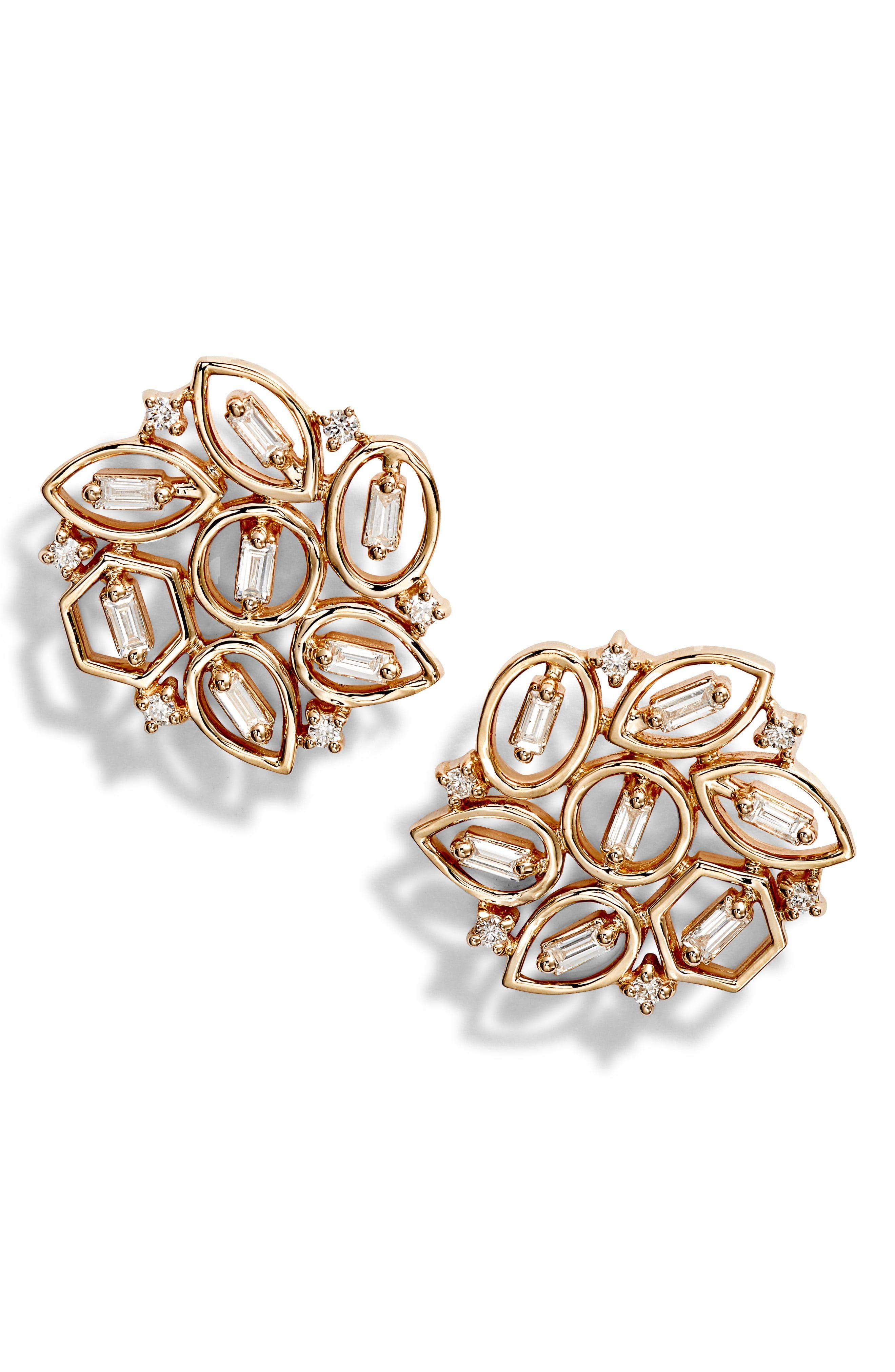 Women S Dana Rebecca Designs Brielle Rose Flower Diamond Stud Earrings Stud Earrings Diamond Studs Simple Earrings