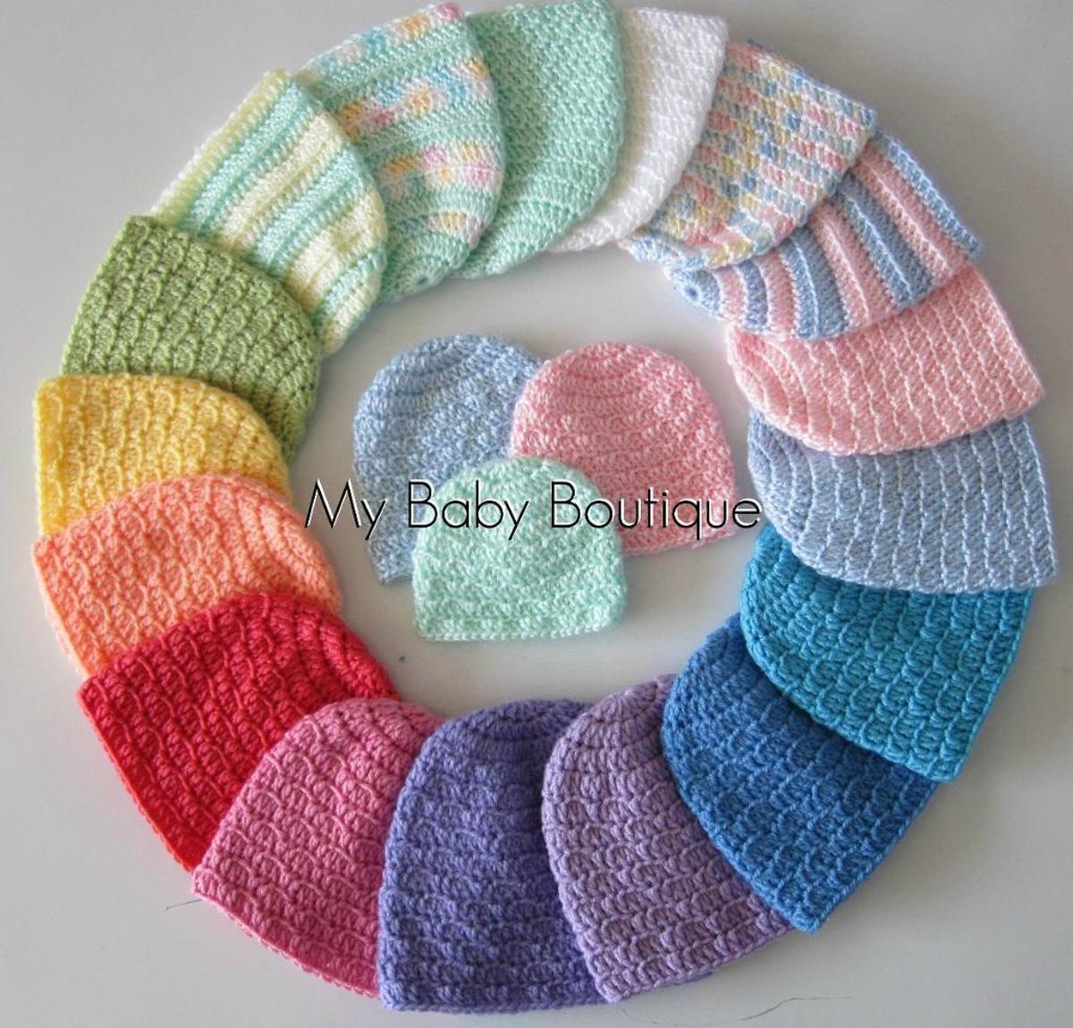 3 Quick and Easy Newborn Caps - 6 Sizes