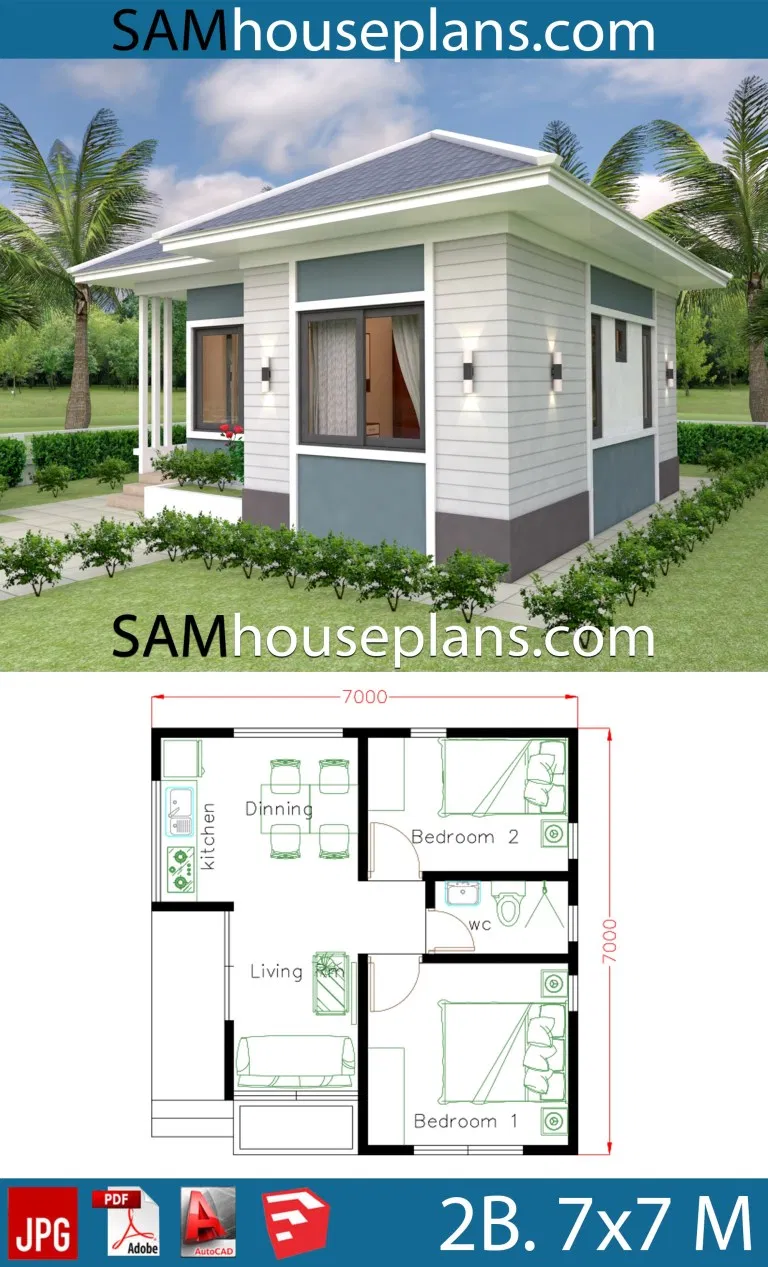 Small House Design Plans 7x7 With 2 Bedrooms House Plans S House Design Small House Design My House Plans