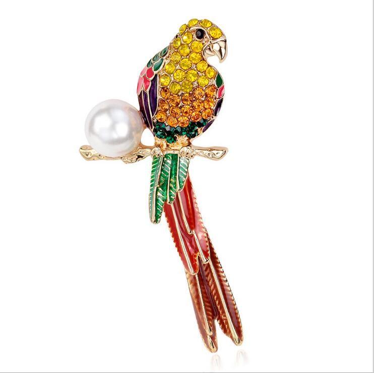 Great Houbian Vintage Enamel Rhinestone Parrot Brooches Pins Brooch For Women Wedding  Bridal Party Bouquet Handmade Jewelry