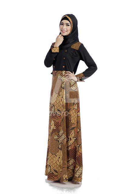 Gamis Amey Rp 299 800 Gamis Batik Coklat Dengan Kombinasi Kaos Hitam