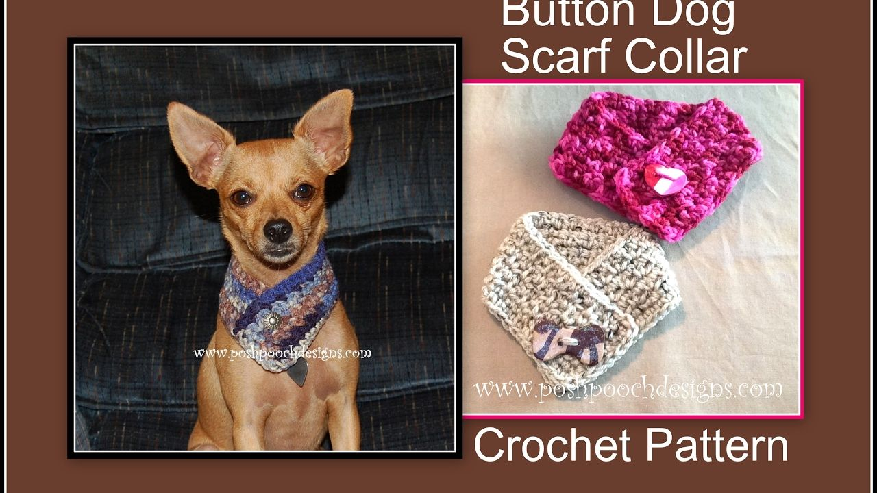 Button Dog Scarf Collar Crochet Pattern - YouTube | Knitting/crochet ...