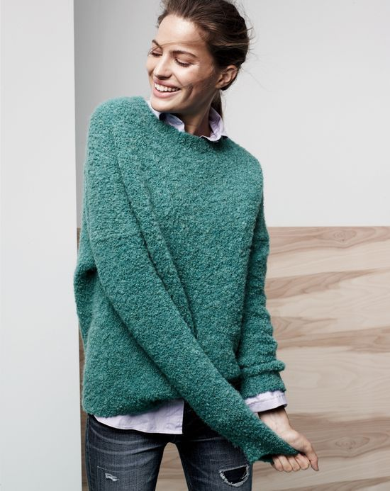 J.Crew women's bouclé sweater and Reid Cone Denim jean. To preorder call 800 261 7422 or email erica@jcrew.com.