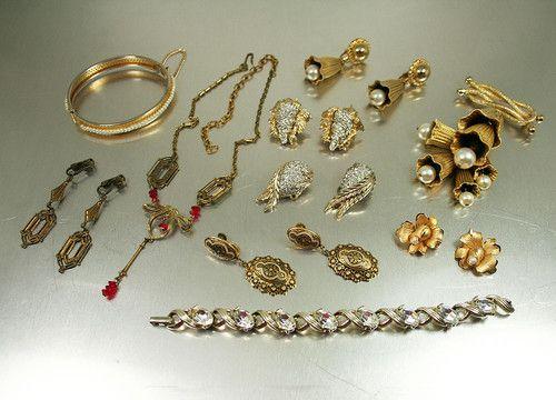 Gold Tone Designer Vintage Jewelry Lot Jomaz Lisner Ledo IPS 12K Gold Filled | eBay