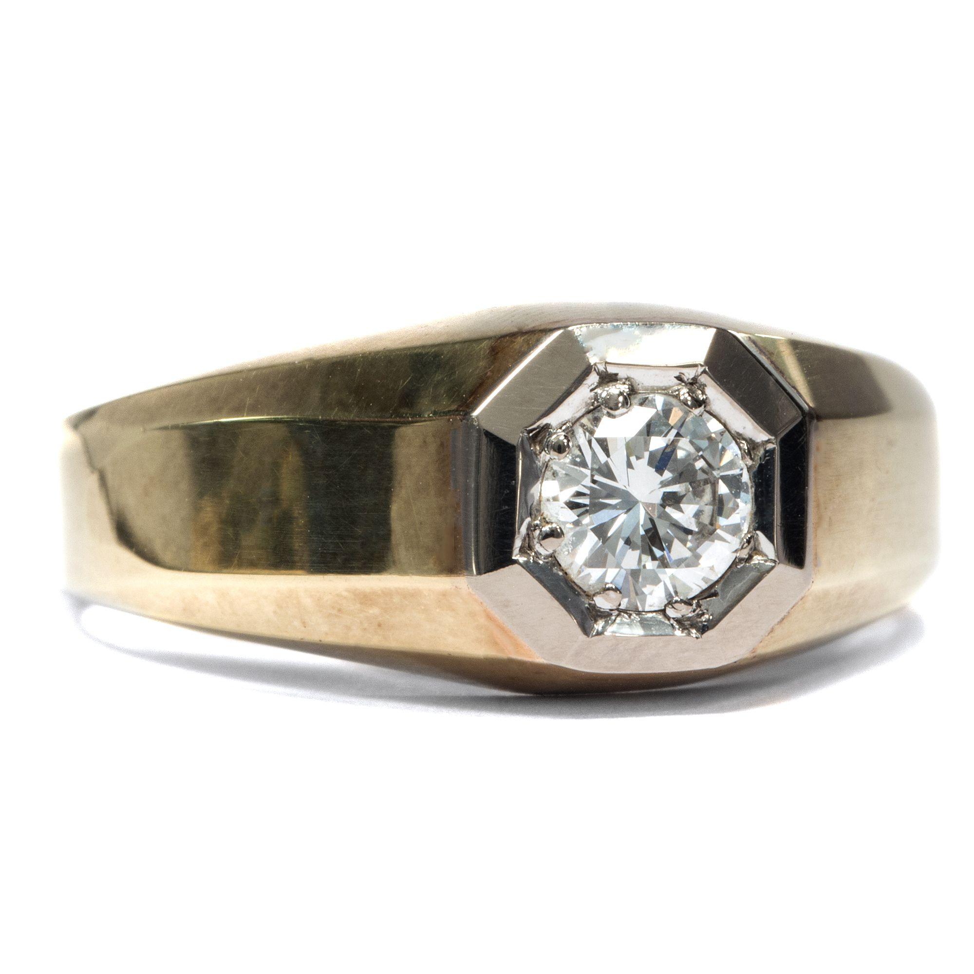 Brillant für den Herrn Maskuliner Vintage Ring mit Halbkaräter