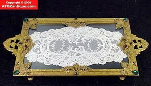 Image result for vintage glass lace vanity tray