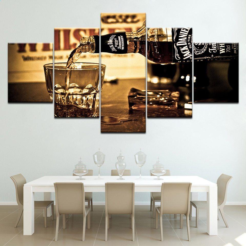 Immagini a parete 5 pezzi Hd Printed Jack Daniels Modulari moderni ...