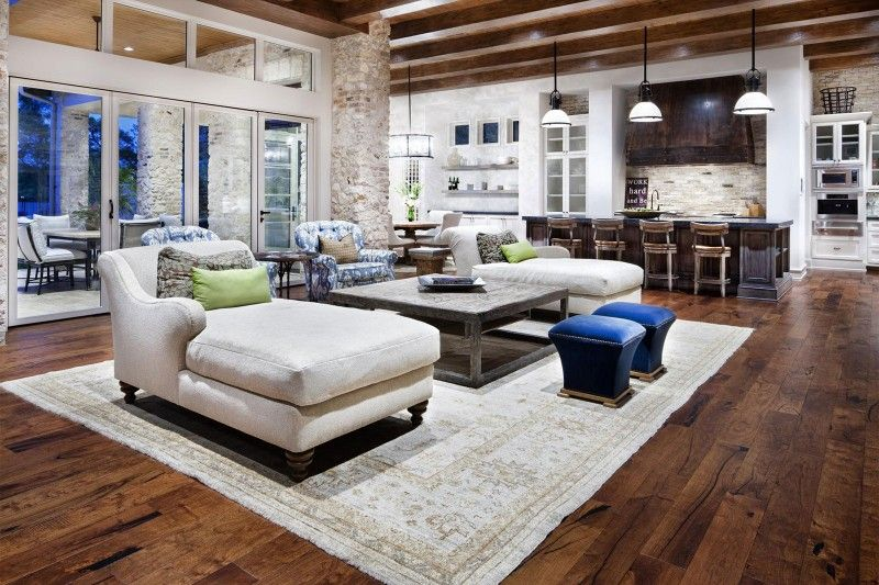 rustic texas home with modern design and luxury accents open living roomskitchen - Most Luxurious Living Rooms